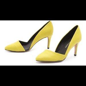 Rebecca Minkoff Brie Yellow Mid Heel Pumps